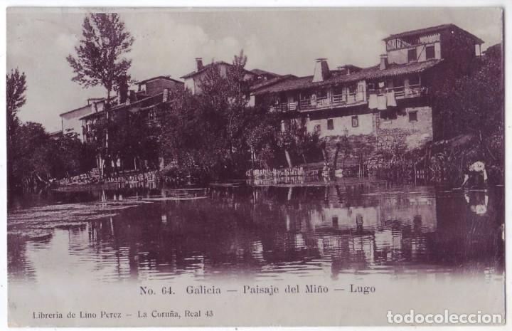 LUGO: PAISAJE DEL MIÑO. LIBRERÍA DE LINO PÉREZ. CIRCULADA (AÑOS 10) (Postales - España - Galicia Antigua (hasta 1939))