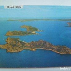 Postales: POSTAL DE VIGO : VISTA AEREA DE LAS ISLAS CIES. AÑOS 60. Lote 147588030