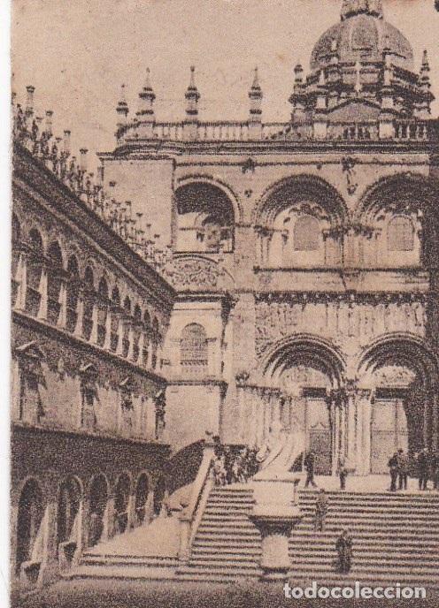 POSTAL ORIGINAL. DÉCADA 30. CORUÑA. SANTIAGO DE COMPOSTELA. CATEDRAL. PUERTA DE LAS PLATERÍAS.Nº 145 (Postales - España - Galicia Antigua (hasta 1939))