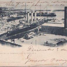 Postales: EL FERROL (LA CORUÑA) - EL DIQUE DE LA CAMPANA CON EL CARLOS V. Lote 147933650