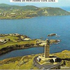 Postales: LA CORUÑA - VISTA AÉREA DE LA TORRE DE HÉRCULES (AÑOS 70). Lote 150093726