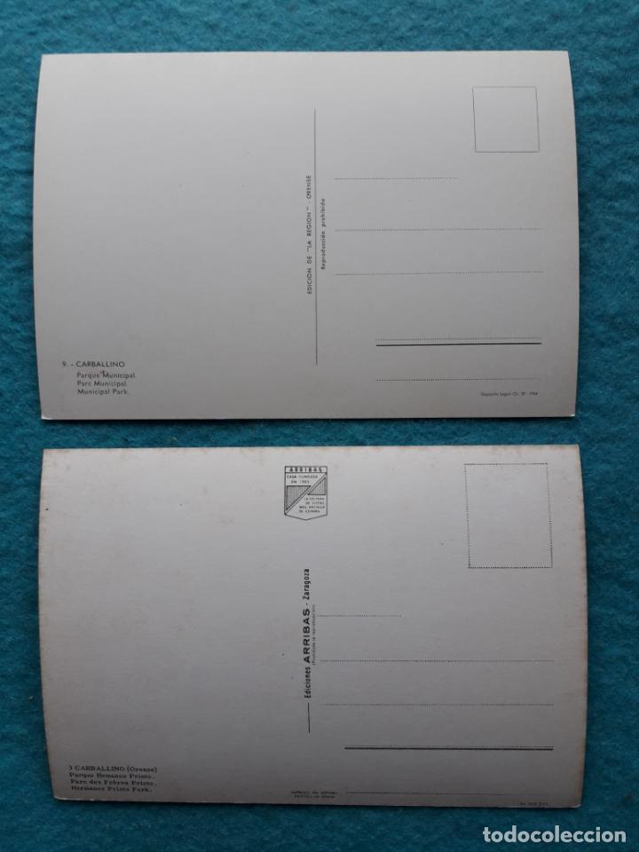 Postales: Lote de 2 postales de Carballino. Orense. Parque Hermanos Prieto. - Foto 2 - 150096398