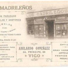 Postales: VIGO (PONTEVEDRA) POSTAL PUBLICITARIA LOS MADRILEÑOS FÁBRICA DE PARAGUAS,SOMBRILLAS Y BASTONES.. Lote 153672430