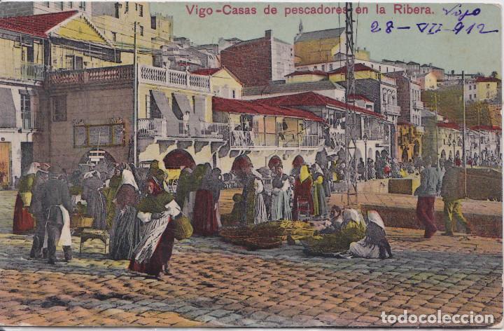 VIGO (PONTEVEDRA) - CASAS DE PESCADORES DE LA RIBERA - TAFALL PAPELERIA (Postales - España - Galicia Antigua (hasta 1939))