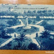 Postais: 53-LA CORUÑA-JARDINES Y ESTATUA DE LINARES RIVAS-GRAFOS. Lote 154669390
