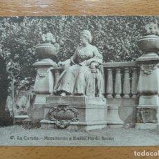 Postais: LA CORUÑA. POSTAL NO. 47 MONUMENTO A EMÍLIA PARDO BAZÁN.. Lote 154673934