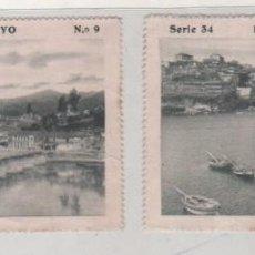 Postales: 2 CROMOS DE LAS BELLEZAS DE GALICA. PUENTE SAMPAYO SERIE 34 Nº 9 Y 5 EL PUENTE Y VISTA PARCIAL. Lote 155601954