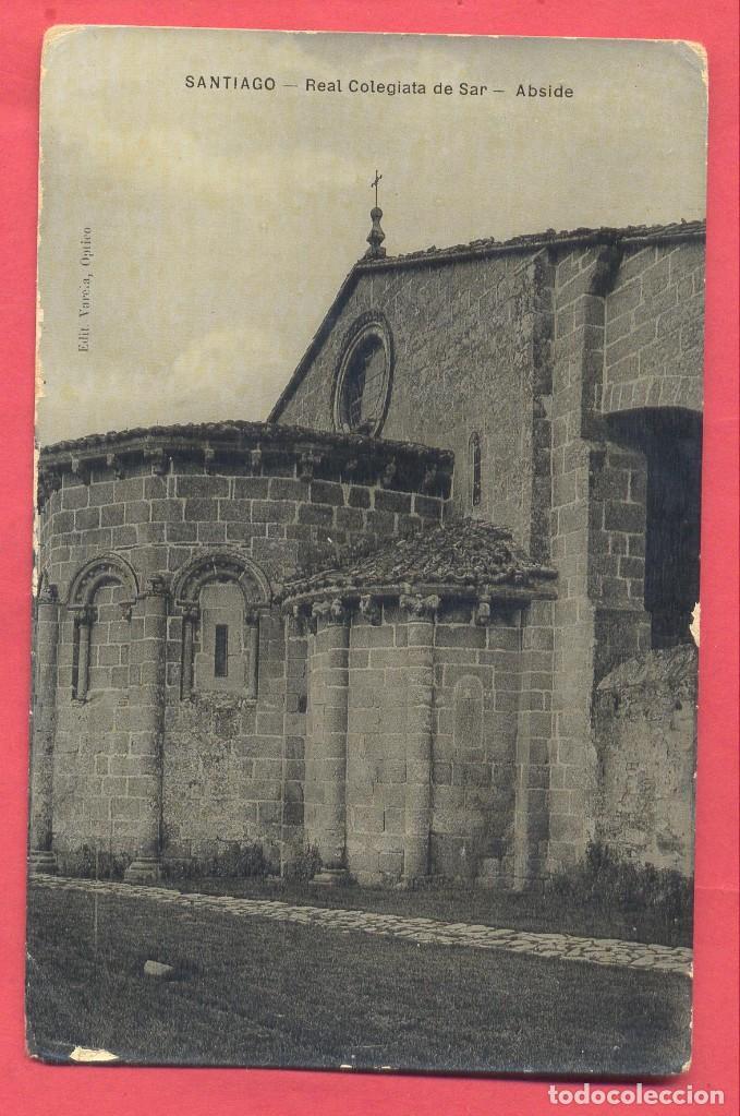 SANTIAGO. REAL COLEGIATA DEL SAR, ABSIDE. EDIT. VARELA OPTICO, SIN CIRCULAR, VER FOTOS (Postales - España - Galicia Antigua (hasta 1939))
