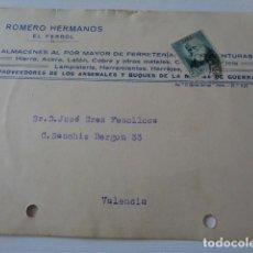 Postales: EL FERROL. A CORUÑA. ROMERO HERMANOS. TARJETA POSTAL COMERCIAL A VALENCIA. 1933. Lote 157783334
