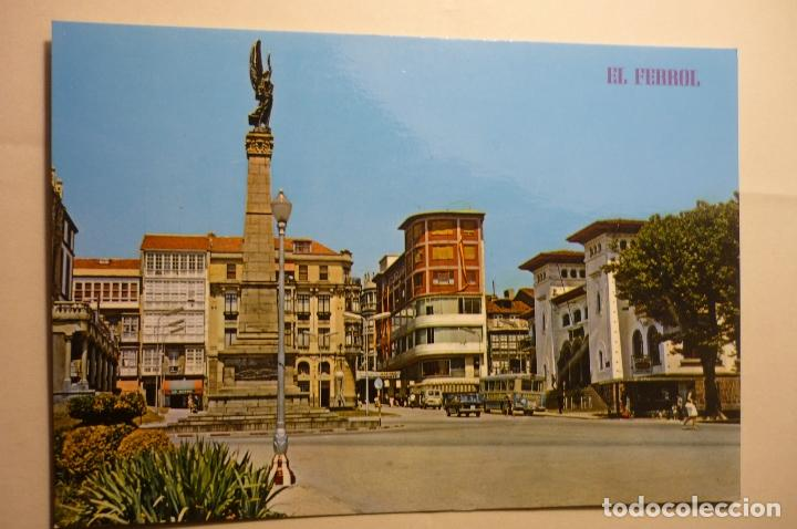 POSTAL EL FERROL .- PL.CAMILO ALONSO VEGA-MONUMENTO CAIDOS AFRICA (Postales - España - Galicia Moderna (desde 1940))