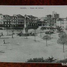 Postales: POSTAL DE FERROL, PLAZA DE ARMAS, OBELISCO, ED. EJG, NO CIRCULADA.. Lote 158943050