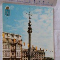 Postales: LA CORUÑA 20 OBELISCO FOTOCOLOR VALMAN PRECIOSOS SEAT 600 RENAULT 4/4 MATRICULAS. Lote 159150034