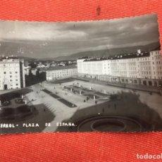 Postales: ANTIGUA FOTO ORIGINAL FERROL PLAZA DE ESPAÑA VISTA AEREA BLANCO Y NEGRO FOTO NO POSTAL FERROL . Lote 159225382