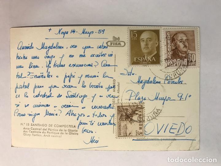 Postales: SANTIAGO DE COMPOSTELA. Postal No. 15, Arco Central del Pórtico de la Gloria. Edita: FISA (a.1959) - Foto 2 - 165399704