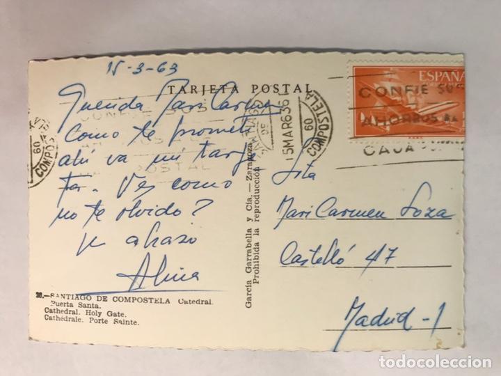 Postales: SANTIAGO DE COMPOSTELA. Postal No.28, Puerta Santa. Edita: Garcia Garrabella (a.1963) CIRCULADA.. - Foto 2 - 165400070