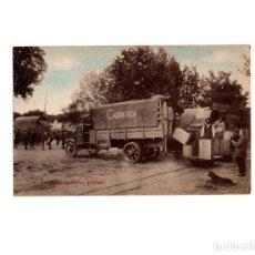 Postales: VERÍN.(ORENSE).- AGUAS DE CABREIROÁ.- CARGANDO CAMIÓN Y CARROS.. Lote 166702122
