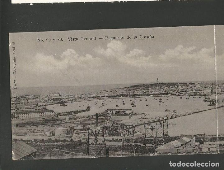 Postales: LA CORUÑA-VISTA GENERAL-29 Y 30-LINO PEREZ-PANORAMICA POSTAL DOBLE-VER REVERSO-(61.080) - Foto 2 - 170011416