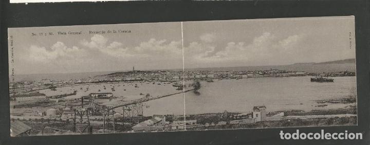 LA CORUÑA-VISTA GENERAL-29 Y 30-LINO PEREZ-PANORAMICA POSTAL DOBLE-VER REVERSO-(61.080) (Postales - España - Galicia Antigua (hasta 1939))