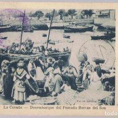 Postales: TARJETA POSTAL LA CORUÑA Nº 47 DESEMBARQUE DEL PESCADO BARCAS DEL SON . Lote 171179625