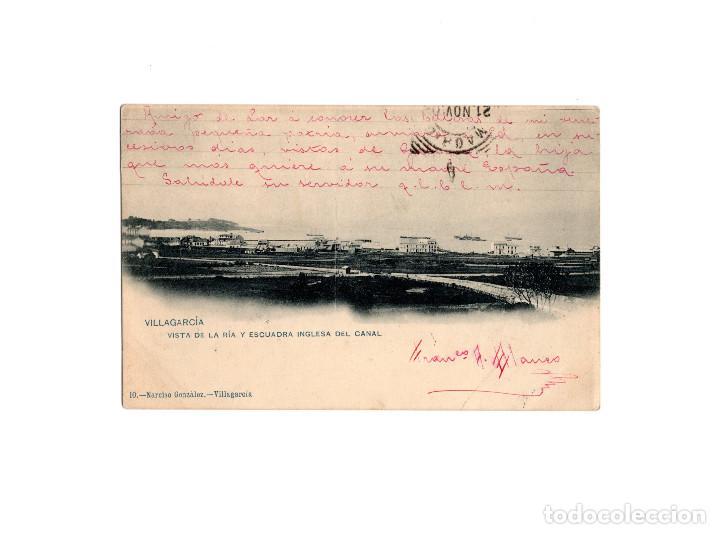 VILLAGARCIA.(PONTEVEDRA).- VISTA DE LA RÍA Y ESCUADRA INGLESA DEL CANAL. (Postales - España - Galicia Antigua (hasta 1939))