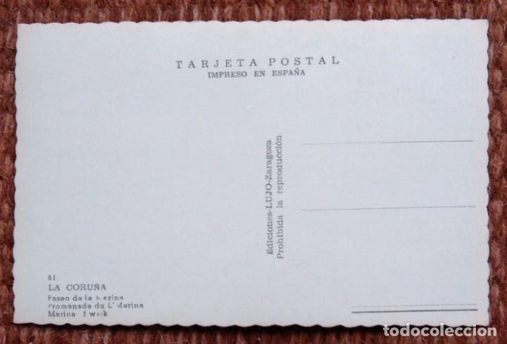 Postales: LA CORUÑA - PASEO DE LA MARINA - EDICIONES LUJO - Foto 2 - 171405083