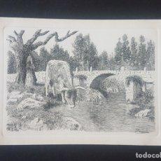 Postales: GALICIA POSTAL GRABADO AL AGUAFUERTE PALMAROLA PAISAJES GALLEGOS HACIA 1920-30. Lote 171594910