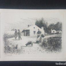 Postales: GALICIA POSTAL GRABADO AL AGUAFUERTE PALMAROLA PAISAJES GALLEGOS HACIA 1920-30. Lote 171594947