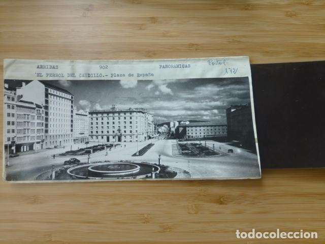 EL FERROL CORUÑA PLAZA ESPAÑA POSTAL PANORAMICA CON SU NEGATIVO ORIGINAL EDICIONES ARRIBAS Nº 902 (Postales - España - Galicia Antigua (hasta 1939))