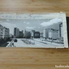 Postales: EL FERROL CORUÑA PLAZA ESPAÑA POSTAL PANORAMICA CON SU NEGATIVO ORIGINAL EDICIONES ARRIBAS Nº 905. Lote 176003632