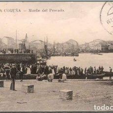 Postales: POSTAL LA CORUÑA MUELLE DEL PESCADO 1909 ED. LA INTERNACIONAL EXPRESS N° 24 ANIMADA. Lote 178823461