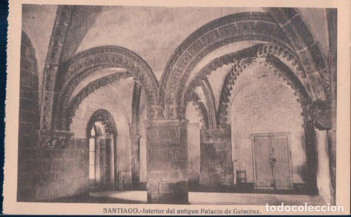 POSTAL SANTIAGO - INTERIOR DEL ANTIGUO PALACIO DE GELMIREZ - HELIOTIPIA (Postales - España - Galicia Antigua (hasta 1939))