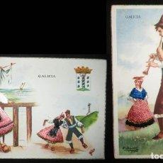 Postales: DOS POSTALES DE GALLEGOS CON TRAJES TÍPICOS BORDADOS. POSTALES ESPERÓN. AÑOS 50.. Lote 182298818