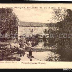 Postales: PESCANDO TRUCHAS ORENSE SALGADO N°24 TARJETA POSTAL GALICIA CA.1900 EDICION ARGENTINA. Lote 182975160