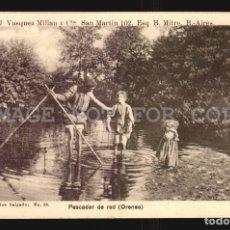 Postales: PESCADOR DE RED ORENSE SALGADO N°38 TARJETA POSTAL GALICIA CA.1900 EDICION ARGENTINA. Lote 182975810
