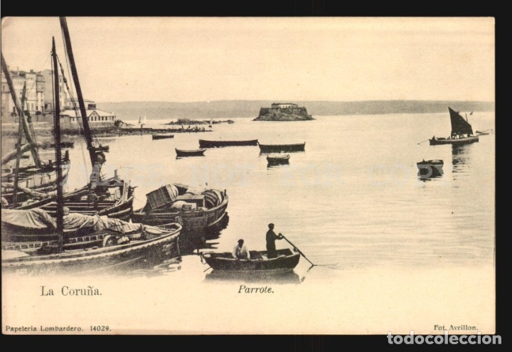 LA CORUÑA N°14029. PARROTE. PAPELERIA LOMBARDERO FOTO AVRILLON REVERSO SIN DIVIDIR IMPECABLE SIN USO (Postales - España - Galicia Antigua (hasta 1939))
