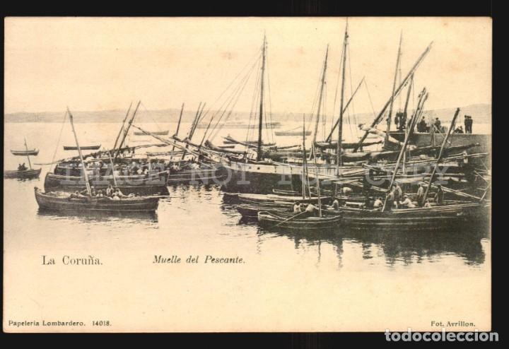 LA CORUÑA N°14018 MUELLE PAPELERIA LOMBARDERO FOTO AVRILLON REVERSO SIN DIVIDIR IMPECABLE SIN USO (Postales - España - Galicia Antigua (hasta 1939))