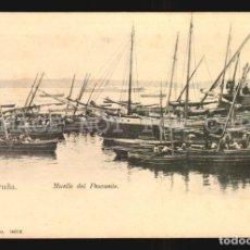 Postales: LA CORUÑA N°14018 MUELLE PAPELERIA LOMBARDERO FOTO AVRILLON REVERSO SIN DIVIDIR IMPECABLE SIN USO. Lote 182983510