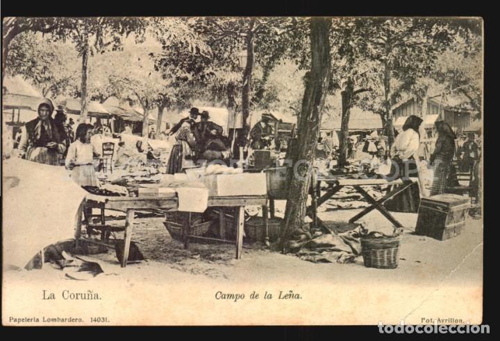 LA CORUÑA N°14031 CAMPO DE LA LEÑA PAPELERIA LOMBARDERO FOTO AVRILLON REVERSO SIN DIVIDIR SIN USO (Postales - España - Galicia Antigua (hasta 1939))