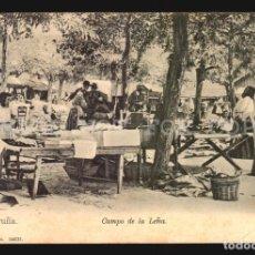 Postales: LA CORUÑA N°14031 CAMPO DE LA LEÑA PAPELERIA LOMBARDERO FOTO AVRILLON REVERSO SIN DIVIDIR SIN USO. Lote 182983818
