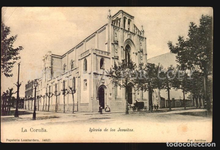 LA CORUÑA N°14027 IGLESIA JESUITAS PAPELERIA LOMBARDERO FOTO AVRILLON REVERSO SIN DIVIDIR SIN USO (Postales - España - Galicia Antigua (hasta 1939))