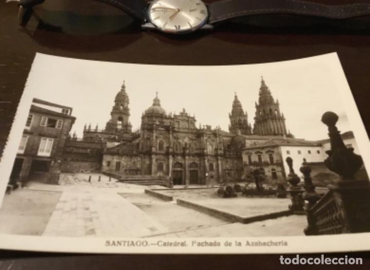 Postales: Antigua postal fotográfica Santiago Catedral fachada de la Azabachería - Foto 2 - 183758230