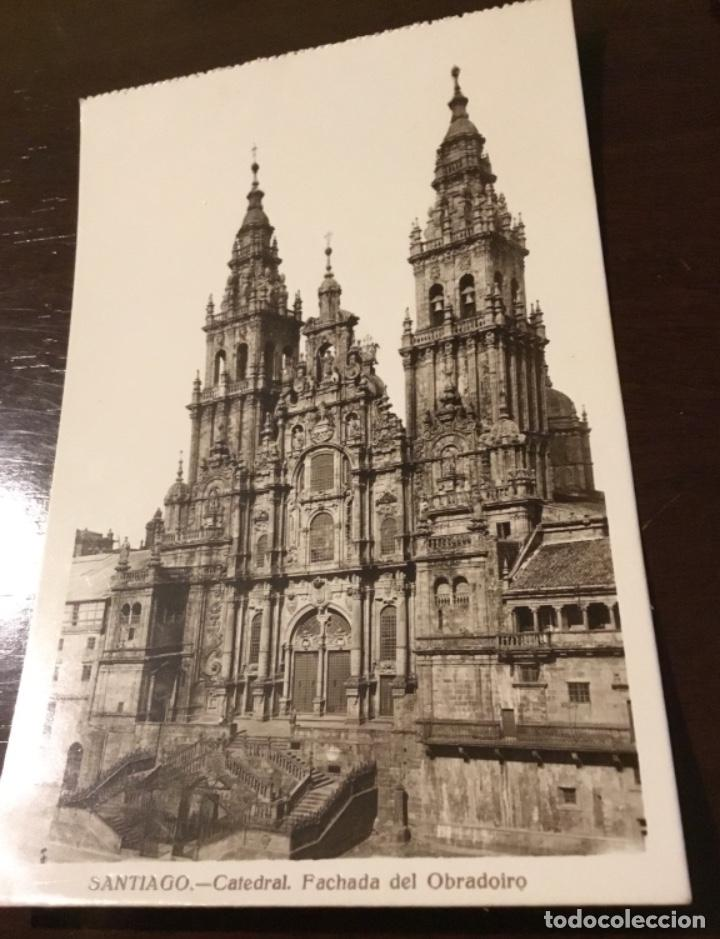 Postales: Antigua postal fotográfica Santiago Catedral fachada del Obradoiro - Foto 2 - 183758237