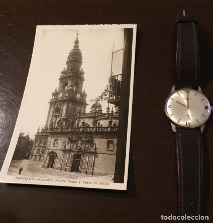 ANTIGUA POSTAL FOTOGRÁFICA SANTIAGO CATEDRAL PUERTA SANTA Y TORRE DEL RELOJ (Postales - España - Galicia Moderna (desde 1940))