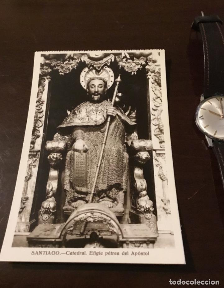 Postales: Antigua postal fotográfica Santiago Catedral efigie pétrea del apóstol - Foto 2 - 183758278