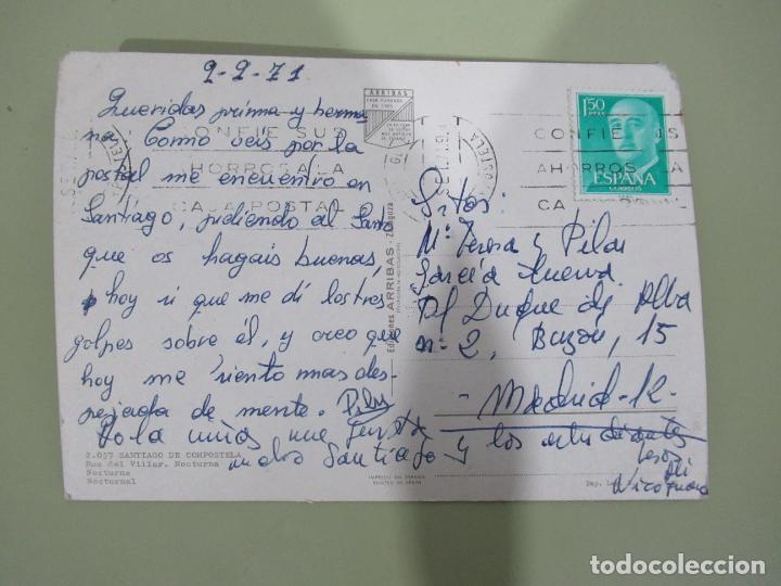 Postales: Santiago de Compostela - Rua del Villar. Nocturna - Circulada - Foto 2 - 184121678