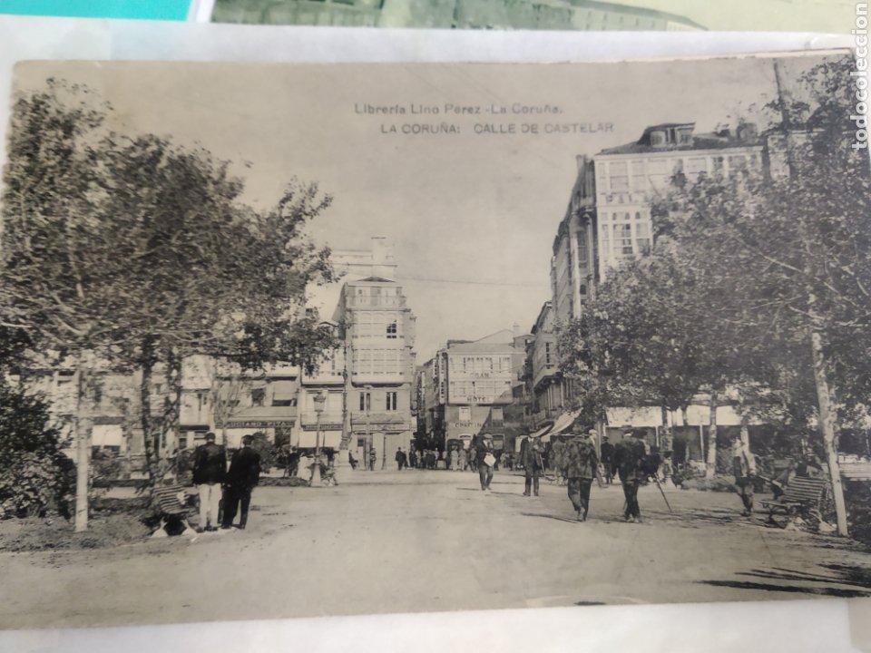 POSTAL DE LA CORUÑA - CALLE DE CASTELAR (LIBRERÍA LINO PÉREZ) CIRCULADA (Postales - España - Galicia Antigua (hasta 1939))
