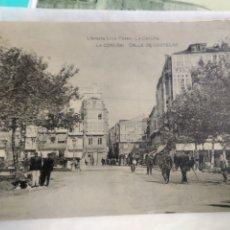 Postales: POSTAL DE LA CORUÑA - CALLE DE CASTELAR (LIBRERÍA LINO PÉREZ) CIRCULADA. Lote 184713207