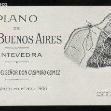 Postales: PONTEVEDRA. *PLANO DE VILLA BUENOS AIRES. LEVANTADO EN EL AÑO 1906...* POSTAL DOBLE. NUEVA.. Lote 187854756