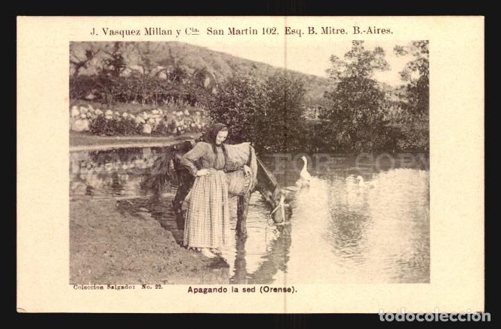 APAGANDO LA SED ORENSE SALGADO N°22 TARJETA POSTAL GALICIA CA.1900 EDICION ARGENTINA (Postales - España - Galicia Antigua (hasta 1939))