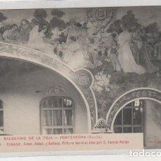 Postales: BALNEARIO DE LA TOJA. PONTEVEDRA. 34 GRAN HOTEL COMEDOR, AMOR, SALUD Y BELLEZA, PINTURA RAMON PULIDO. Lote 194009662